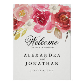 Elegant Burgundy and Pink Wedding Welcome Poster