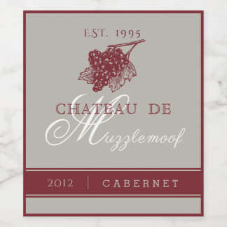 Elegant Burgundy and Silver Wine Label
