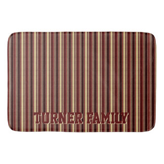 Elegant Burgundy Beige Stripes Custom Monogram Bath Mat