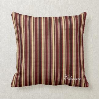 Elegant Burgundy Beige Stripes Custom Monogram Throw Pillow