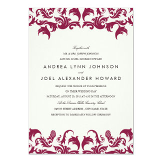 Elegant Burgundy Damask Wedding Invitation