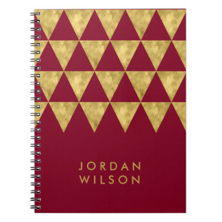 Elegant Burgundy Faux Gold Triangle Pattern Spiral Notebook