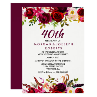 Elegant Burgundy Floral 40th Wedding Anniversary Card