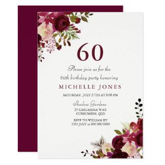 Elegant Burgundy Floral 60th Birthday Invitation