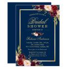Elegant Burgundy Floral Navy Blue Bridal Shower Card