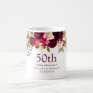 Elegant Burgundy Flowers 50th Wedding Anniversary Coffee Mug