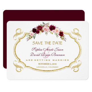 Elegant Burgundy Marsala Floral Fall Save The Date Card