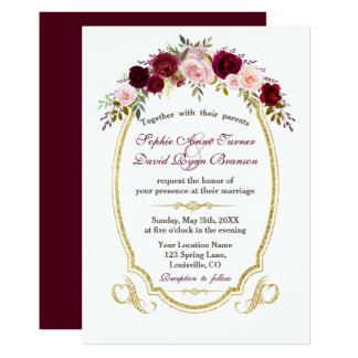 Elegant Burgundy Marsala Floral Fall Wedding Card