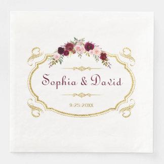 Elegant Burgundy Marsala Floral Fall Wedding Disposable Napkin