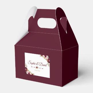 Elegant Burgundy Marsala Floral Fall Wedding Favor Box