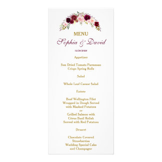 Elegant Burgundy Marsala Floral Fall Wedding Menu