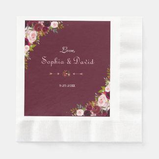 Elegant Burgundy Marsala Floral Wedding Paper Napkins