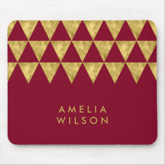 Elegant Burgundy Name Faux Gold Triangle Pattern Mouse Pad