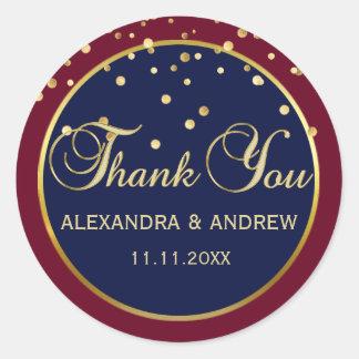 Elegant BURGUNDY NAVY BLUE Gold Wedding Thank You Classic Round Sticker