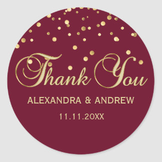 Elegant BURGUNDY Red Gold Wedding Thank You Classic Round Sticker