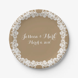 Elegant burlap brown/tan & white lace design paper plate