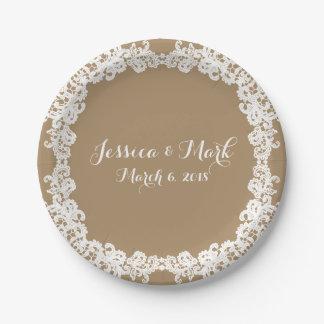 Elegant burlap brown/tan & white lace design paper plate