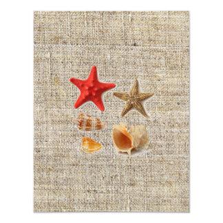 elegant burlap  nautical seashells beach wedding card