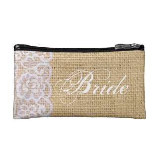 elegant burlap white lace country bride makeup bags