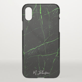 Elegant Burnt Green Marble Personalized iPhone X Case