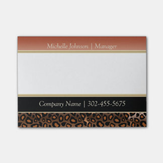 Elegant Burnt Orange and Black Jaguar Print Post-it® Notes