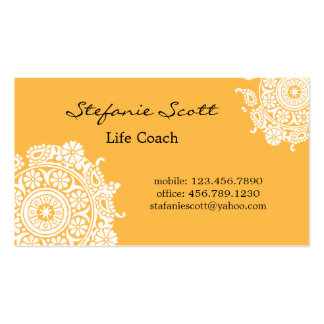 Elegant Business Card in Tangerine and White