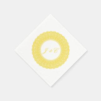 Elegant buttercup yellow lace cocktail napkin disposable napkin