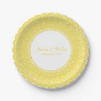 Elegant buttercup yellow lace doiley custom plate