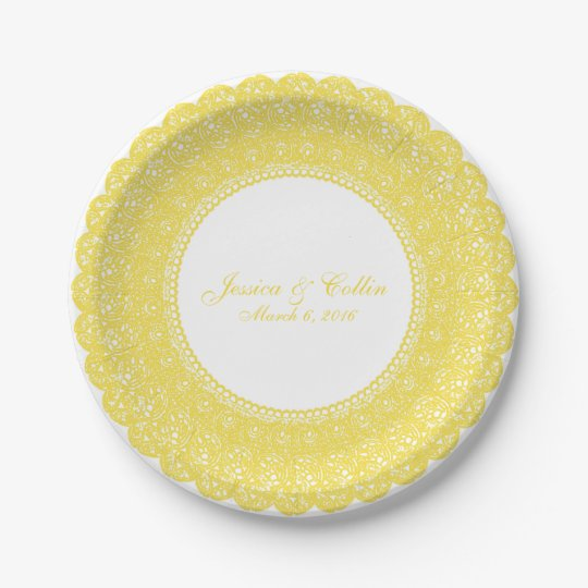 Elegant buttercup yellow lace doiley custom plate 7 inch paper plate