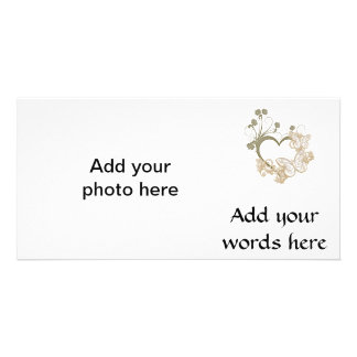 Elegant Butterflies and Flowers Heart Photo Cards