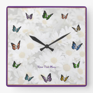 Elegant Butterfly Decorative Square Wall Clock