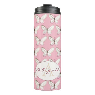 Elegant Butterfly Pink Monogram Thermal Tumbler