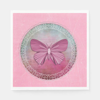 Elegant Butterfly Pink Party Napkins Disposable Napkins