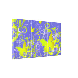 Elegant Butterfly Swirl (Bright Yellow/Green) Canvas Prints