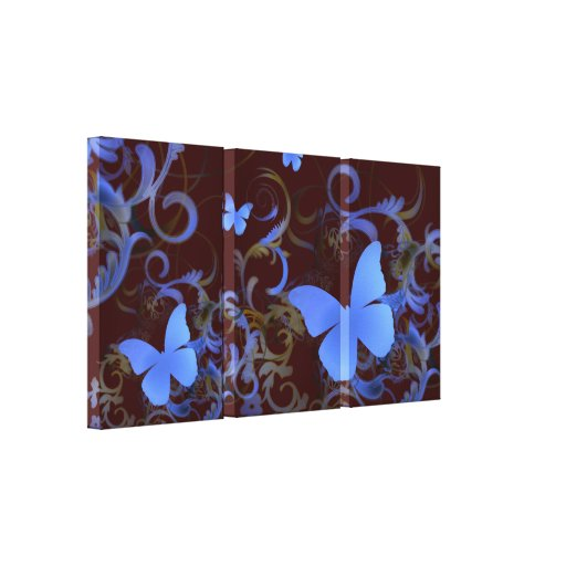 Elegant Butterfly Swirl (Chocolate & Blue) Stretched Canvas Print
