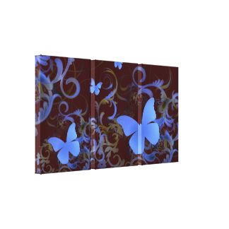 Elegant Butterfly Swirl (Chocolate & Blue) Gallery Wrap Canvas