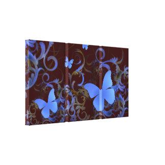 Elegant Butterfly Swirl (Chocolate & Blue) Gallery Wrap Canvas