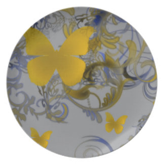 Elegant Butterfly Swirl Dinner Plates