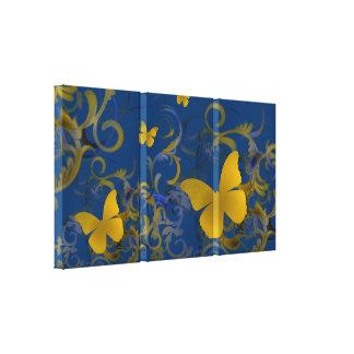 Elegant Butterfly Swirl (Gold & Blue) Gallery Wrap Canvas
