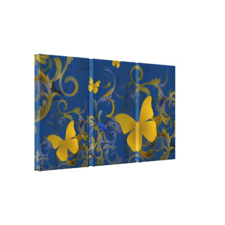Elegant Butterfly Swirl (Gold & Blue) Gallery Wrapped Canvas