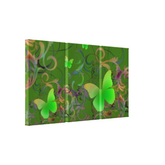 Elegant Butterfly Swirl (green) Canvas Prints