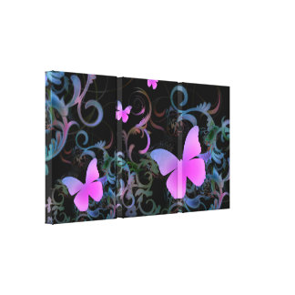 Elegant Butterfly Swirl (Pink) Stretched Canvas Prints