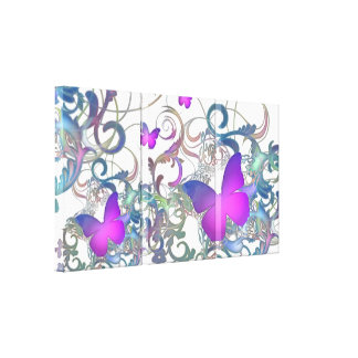 Elegant Butterfly Swirl (Rainbow Colours) Stretched Canvas Prints