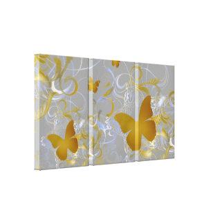 Elegant Butterfly Swirl (Silver & Gold) Gallery Wrap Canvas