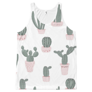 Elegant Cacti in Pots Pattern All-Over-Print Tank Top