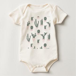 Elegant Cacti in Pots Pattern Baby Bodysuit