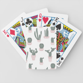 Elegant Cacti in Pots Pattern Bicycle Playing Cards