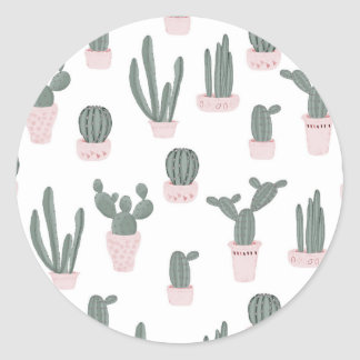 Elegant Cacti in Pots Pattern Classic Round Sticker