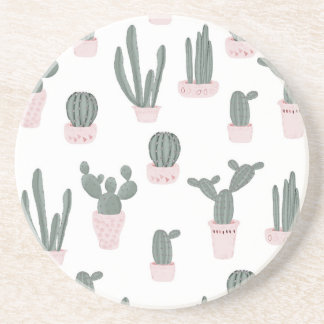 Elegant Cacti in Pots Pattern Coaster