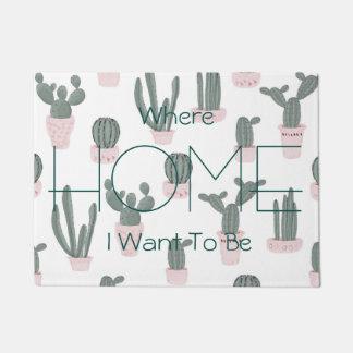 Elegant Cacti in Pots Pattern Doormat